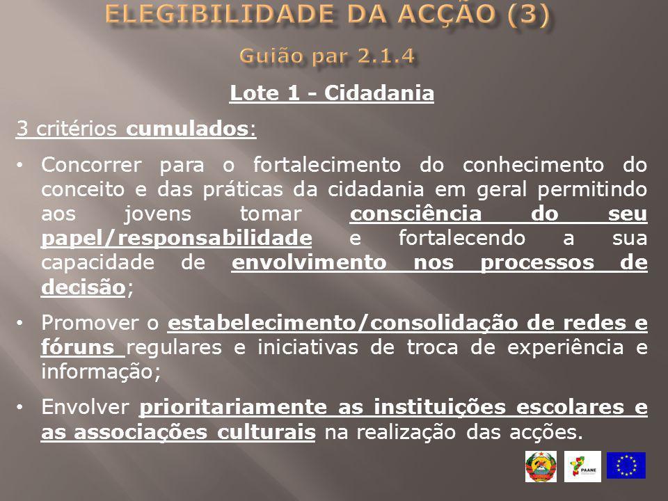 Lote 1 - Cidadania 3 critérios cumulados: Concorrer para o fortalecimento do conhecimento do conceito e das práticas da cidadania em geral permitindo