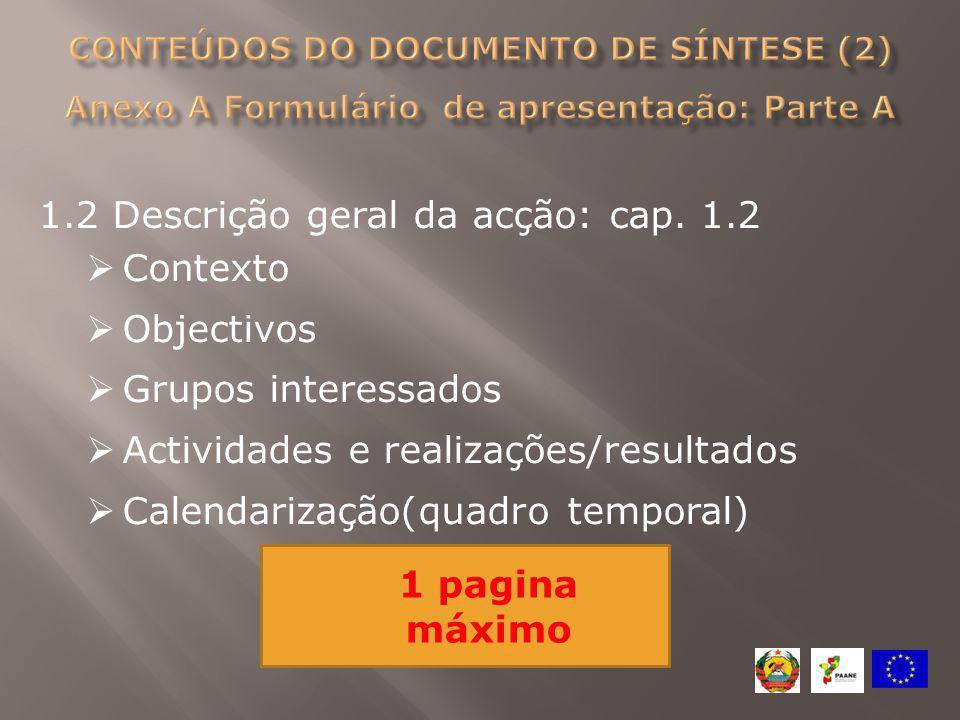 1.2 Descrição geral da acção: cap. 1.2  Contexto  Objectivos  Grupos interessados  Actividades e realizações/resultados  Calendarização(quadro te