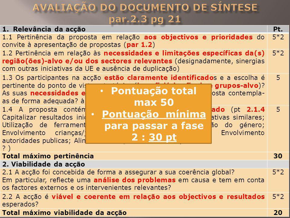 1.Relevância da acçãoPt. 1.1 Pertinência da proposta em relação aos objectivos e prioridades do convite à apresentação de propostas (par 1.2) 5*2 1.2