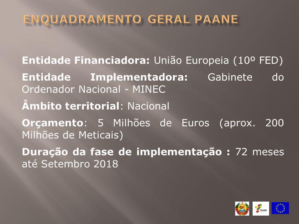 Entidade Financiadora: União Europeia (10º FED) Entidade Implementadora: Gabinete do Ordenador Nacional - MINEC Âmbito territorial: Nacional Orçamento