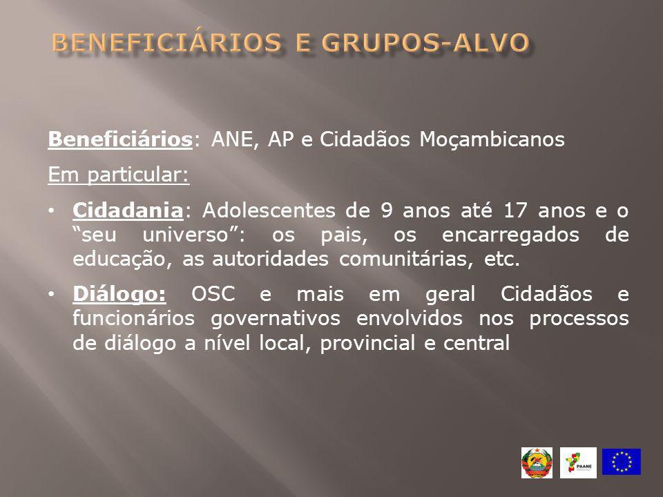 """Beneficiários: ANE, AP e Cidadãos Moçambicanos Em particular: Cidadania: Adolescentes de 9 anos até 17 anos e o """"seu universo"""": os pais, os encarregad"""