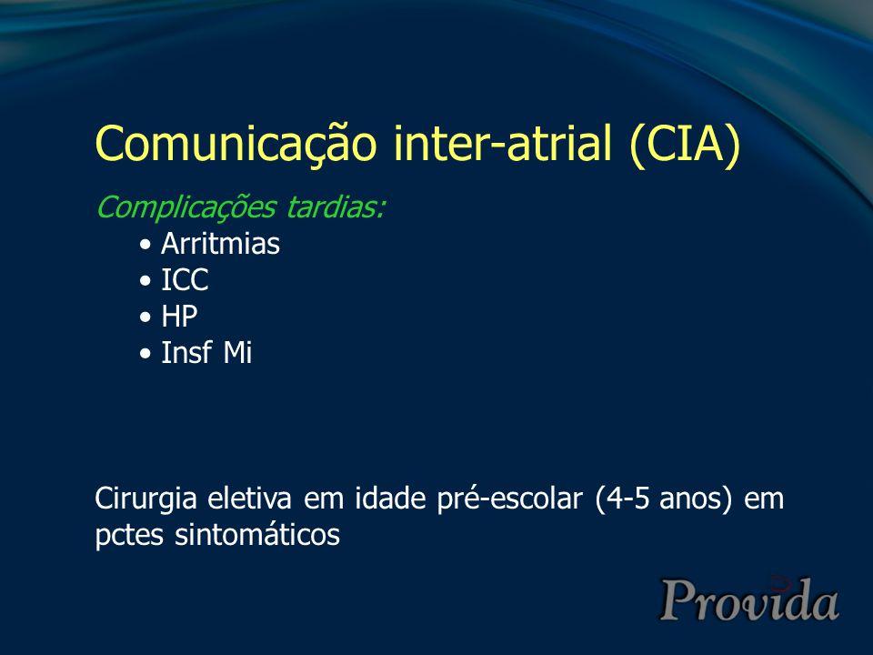 Comunicação inter-atrial (CIA) Complicações tardias: Arritmias ICC HP Insf Mi Cirurgia eletiva em idade pré-escolar (4-5 anos) em pctes sintomáticos