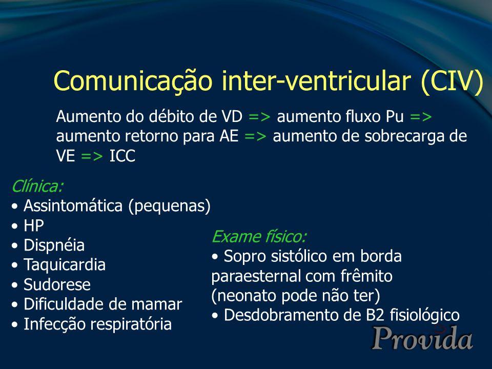Comunicação inter-ventricular (CIV) Aumento do débito de VD => aumento fluxo Pu => aumento retorno para AE => aumento de sobrecarga de VE => ICC Clíni