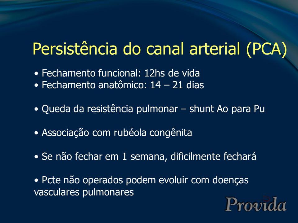 Persistência do canal arterial (PCA) Fechamento funcional: 12hs de vida Fechamento anatômico: 14 – 21 dias Queda da resistência pulmonar – shunt Ao pa