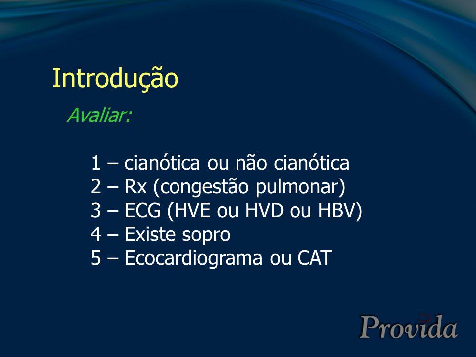Avaliar: 1 – cianótica ou não cianótica 2 – Rx (congestão pulmonar) 3 – ECG (HVE ou HVD ou HBV) 4 – Existe sopro 5 – Ecocardiograma ou CAT Introdução