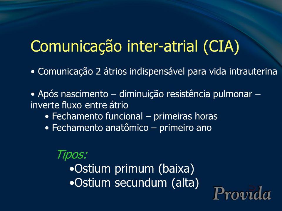 Comunicação inter-atrial (CIA) Comunicação 2 átrios indispensável para vida intrauterina Após nascimento – diminuição resistência pulmonar – inverte f
