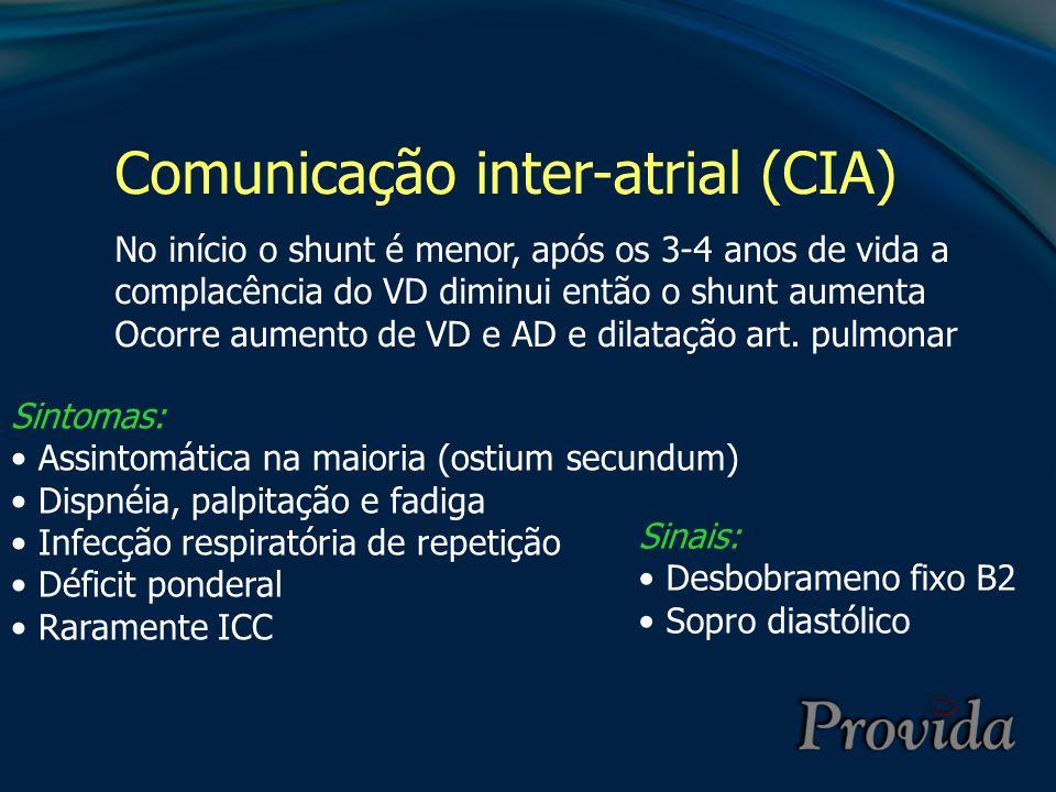 Comunicação inter-atrial (CIA) Rx: Aumento da área cardíaca Aumento do tronco pulmonar Ecocardio: Aumento de VD Movimento paradoxal do septo IV ECG: Padrão de RSR (BRD)