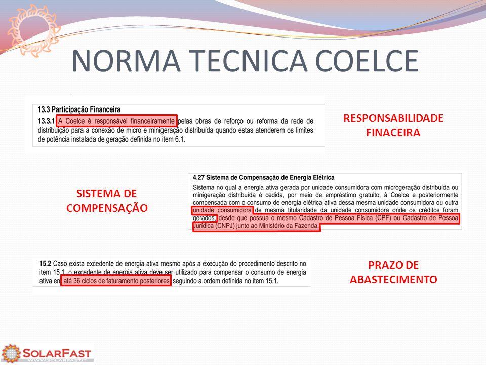 NORMA TECNICA COELCE RESPONSABILIDADE FINACEIRA SISTEMA DE COMPENSAÇÃO PRAZO DE ABASTECIMENTO