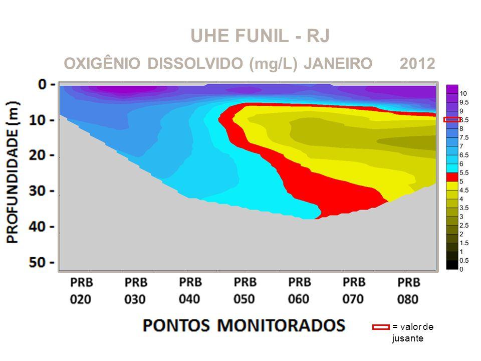 UHE FUNIL - RJ OXIGÊNIO DISSOLVIDO (mg/L)2012JANEIRO = valor de jusante