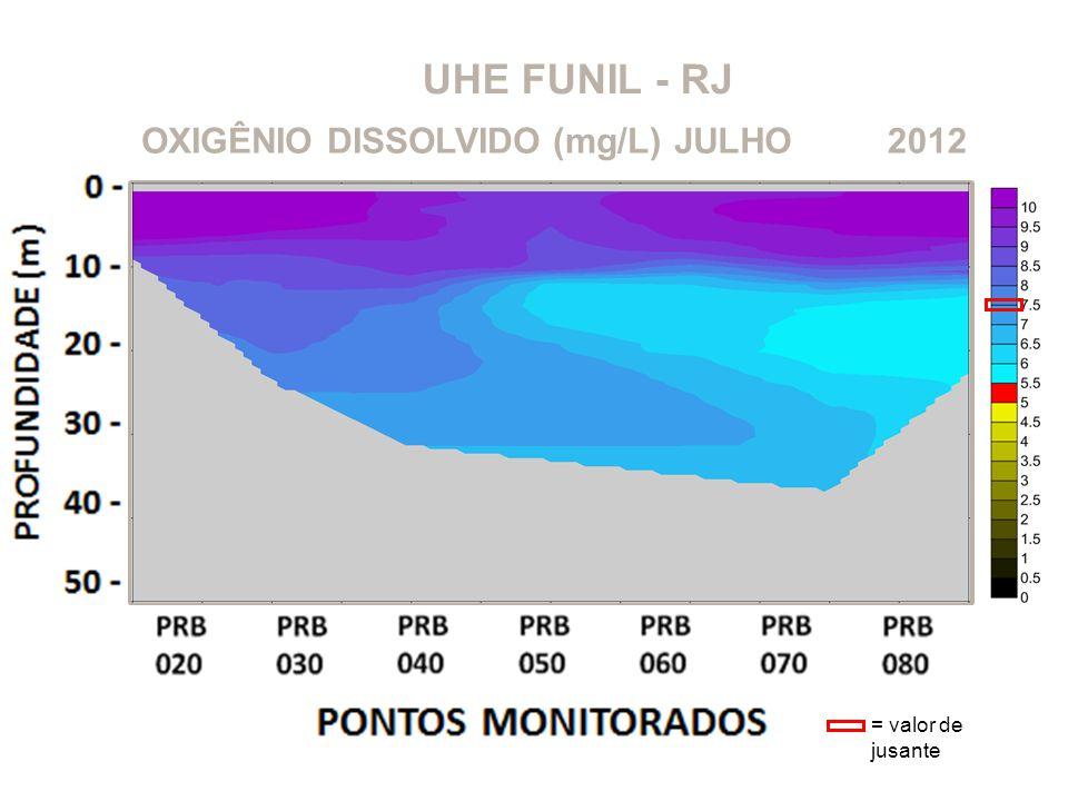 UHE FUNIL - RJ OXIGÊNIO DISSOLVIDO (mg/L)2012JULHO = valor de jusante