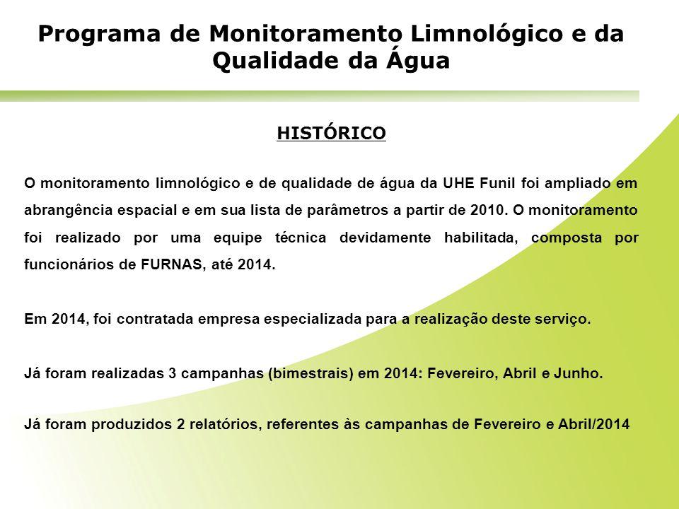 HISTÓRICO O monitoramento limnológico e de qualidade de água da UHE Funil foi ampliado em abrangência espacial e em sua lista de parâmetros a partir d