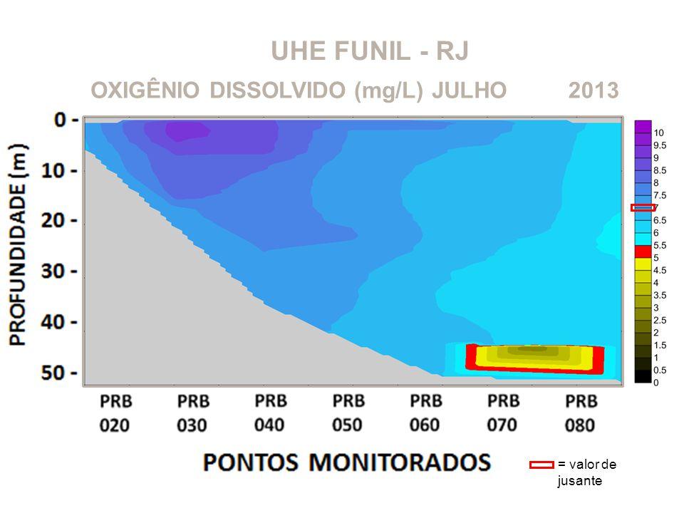 UHE FUNIL - RJ OXIGÊNIO DISSOLVIDO (mg/L)2013JULHO = valor de jusante