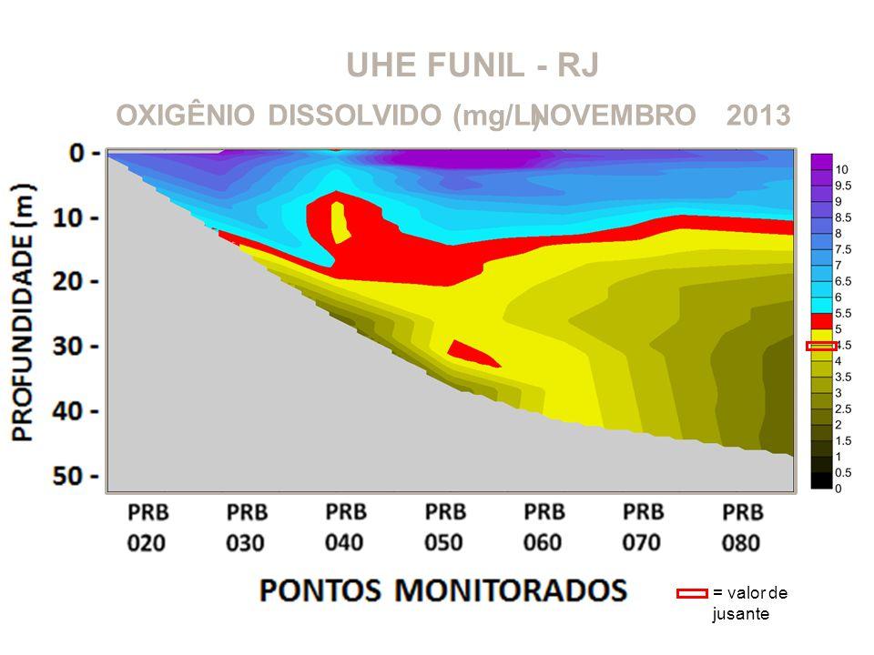UHE FUNIL - RJ OXIGÊNIO DISSOLVIDO (mg/L)2013NOVEMBRO = valor de jusante