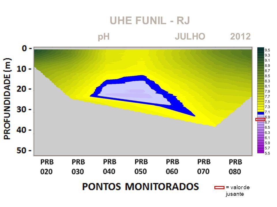 UHE FUNIL - RJ 2012JULHO pH = valor de jusante
