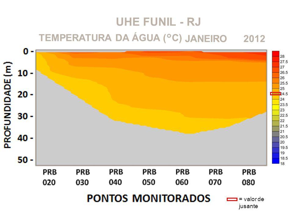 UHE FUNIL - RJ 2012JANEIROTEMPERATURA DA ÁGUA (°C) = valor de jusante