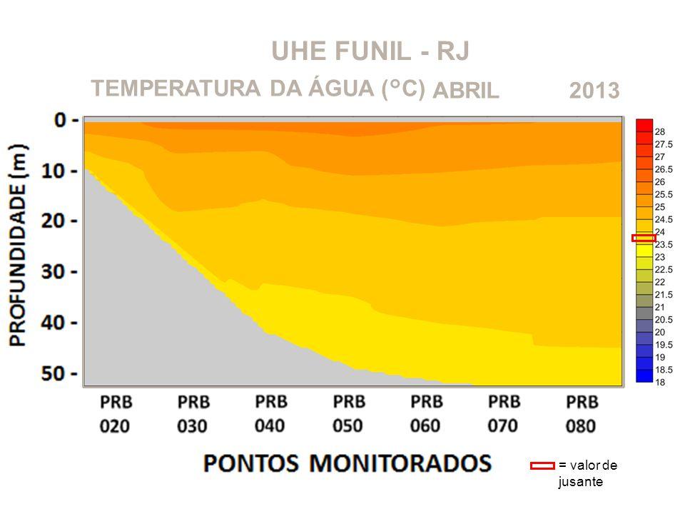 UHE FUNIL - RJ 2013ABRILTEMPERATURA DA ÁGUA (°C) = valor de jusante