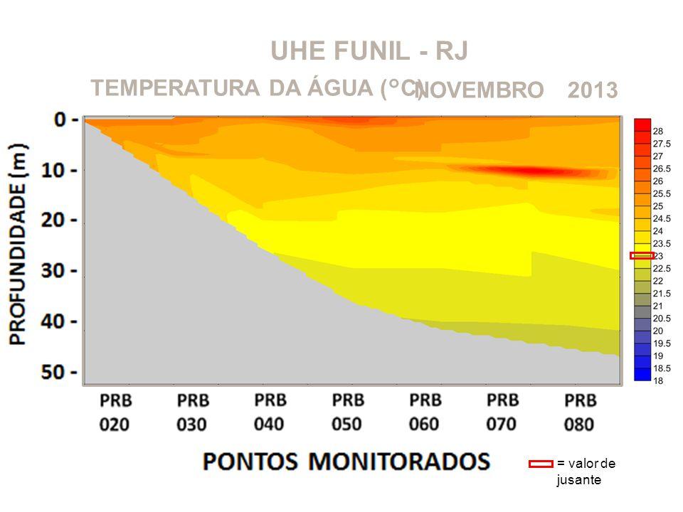 UHE FUNIL - RJ 2013NOVEMBROTEMPERATURA DA ÁGUA (°C) = valor de jusante