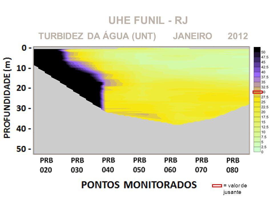 UHE FUNIL - RJ 2012JANEIROTURBIDEZ DA ÁGUA (UNT) = valor de jusante