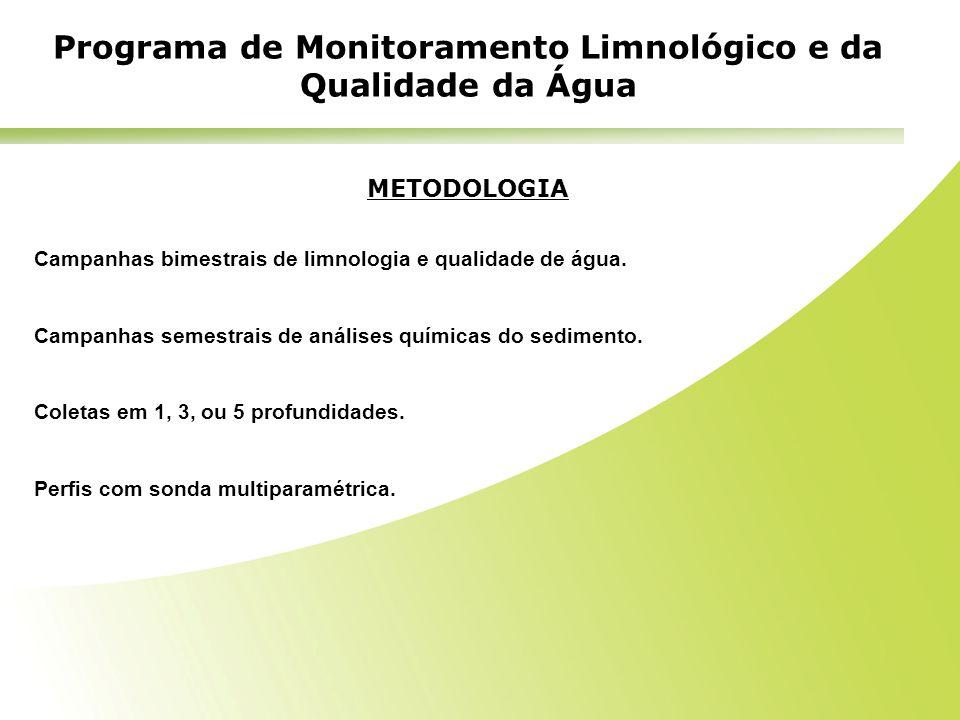 METODOLOGIA Campanhas bimestrais de limnologia e qualidade de água. Campanhas semestrais de análises químicas do sedimento. Coletas em 1, 3, ou 5 prof