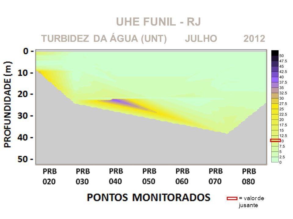 UHE FUNIL - RJ 2012JULHOTURBIDEZ DA ÁGUA (UNT) = valor de jusante
