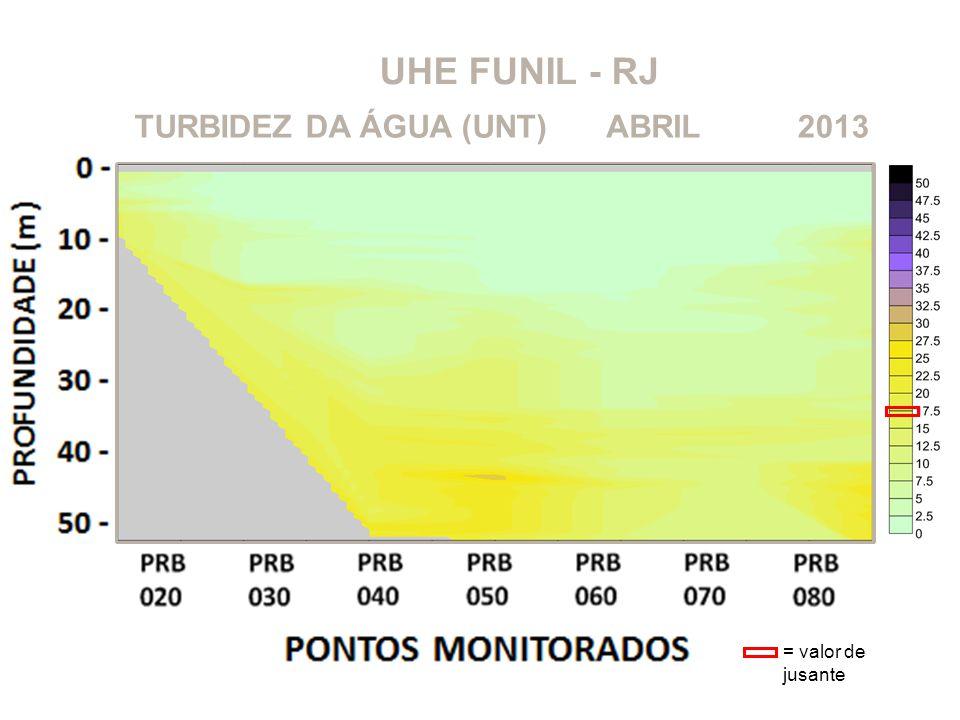 UHE FUNIL - RJ 2013ABRILTURBIDEZ DA ÁGUA (UNT) = valor de jusante