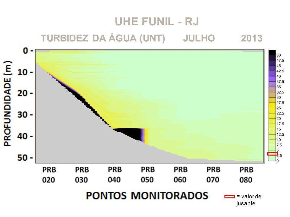 UHE FUNIL - RJ 2013JULHOTURBIDEZ DA ÁGUA (UNT) = valor de jusante