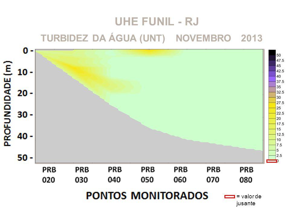 UHE FUNIL - RJ 2013NOVEMBROTURBIDEZ DA ÁGUA (UNT) = valor de jusante