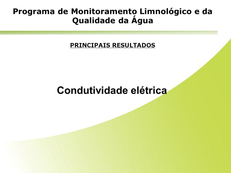 PRINCIPAIS RESULTADOS Condutividade elétrica Programa de Monitoramento Limnológico e da Qualidade da Água