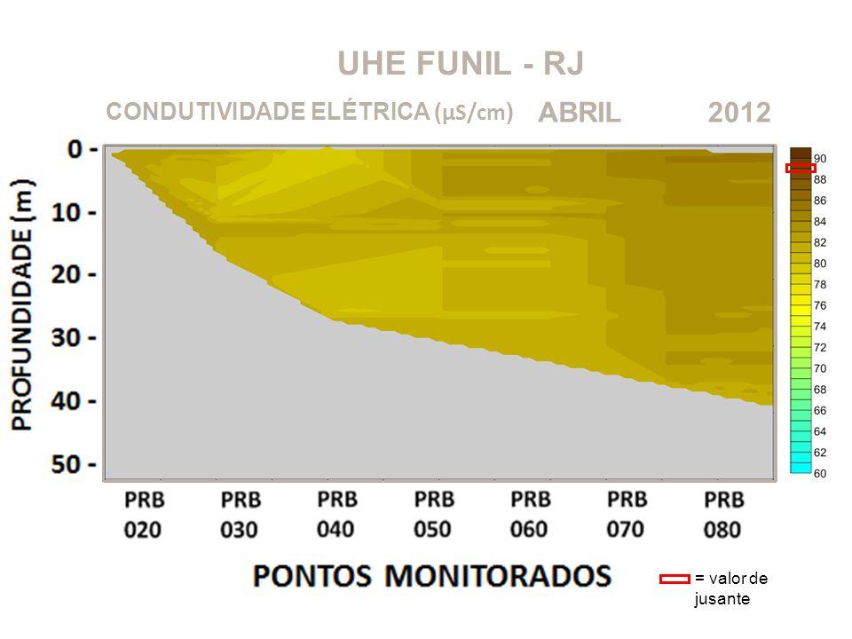 UHE FUNIL - RJ 2012ABRIL CONDUTIVIDADE ELÉTRICA ( μS/cm ) = valor de jusante