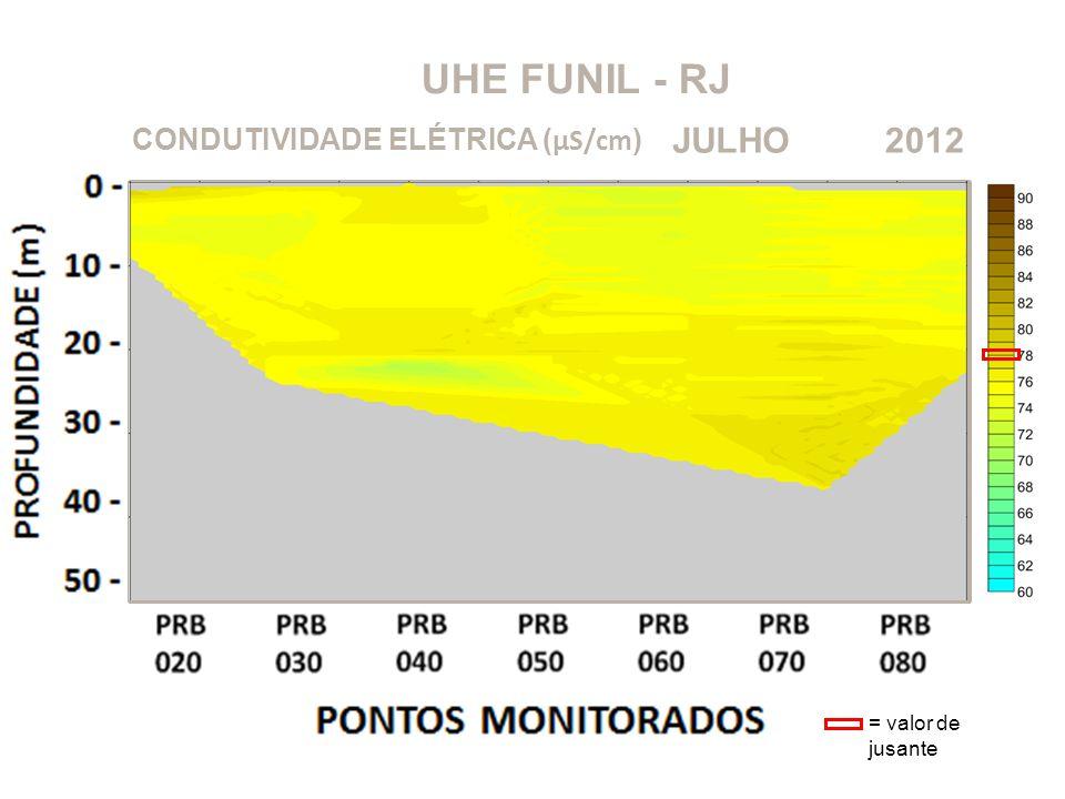 UHE FUNIL - RJ 2012JULHO CONDUTIVIDADE ELÉTRICA ( μS/cm ) = valor de jusante