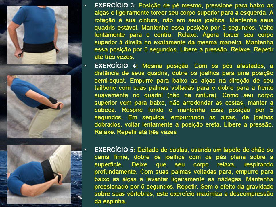 EXERCÍCIO 3: Posição de pé mesmo, pressione para baixo as alças e ligeiramente torcer seu corpo superior para a esquerda. A rotação é sua cintura, não