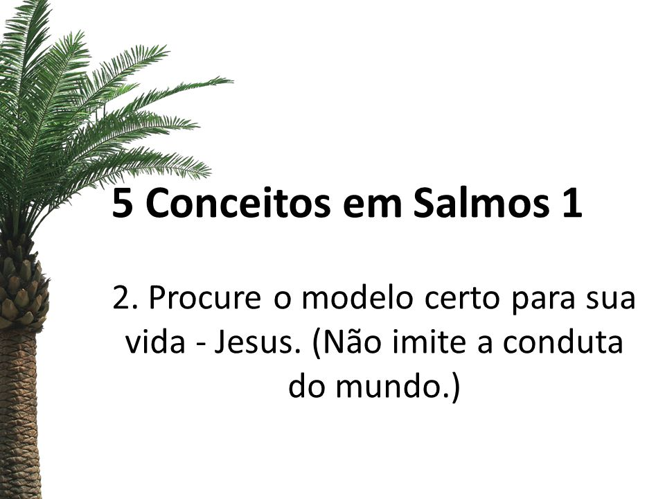5 Conceitos em Salmos 1 2. Procure o modelo certo para sua vida - Jesus. (Não imite a conduta do mundo.)