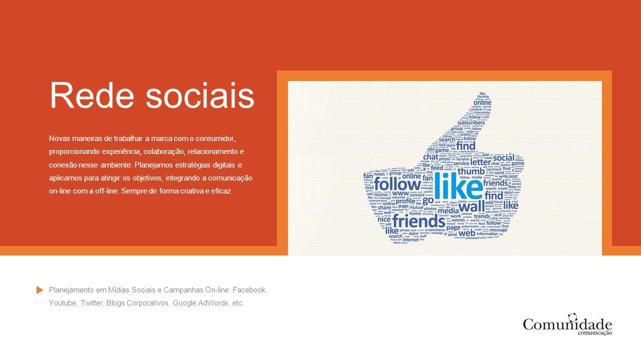 Rede sociais Novas maneiras de trabalhar a marca com o consumidor, proporcionando experiência, colaboração, relacionamento e conexão nesse ambiente. P