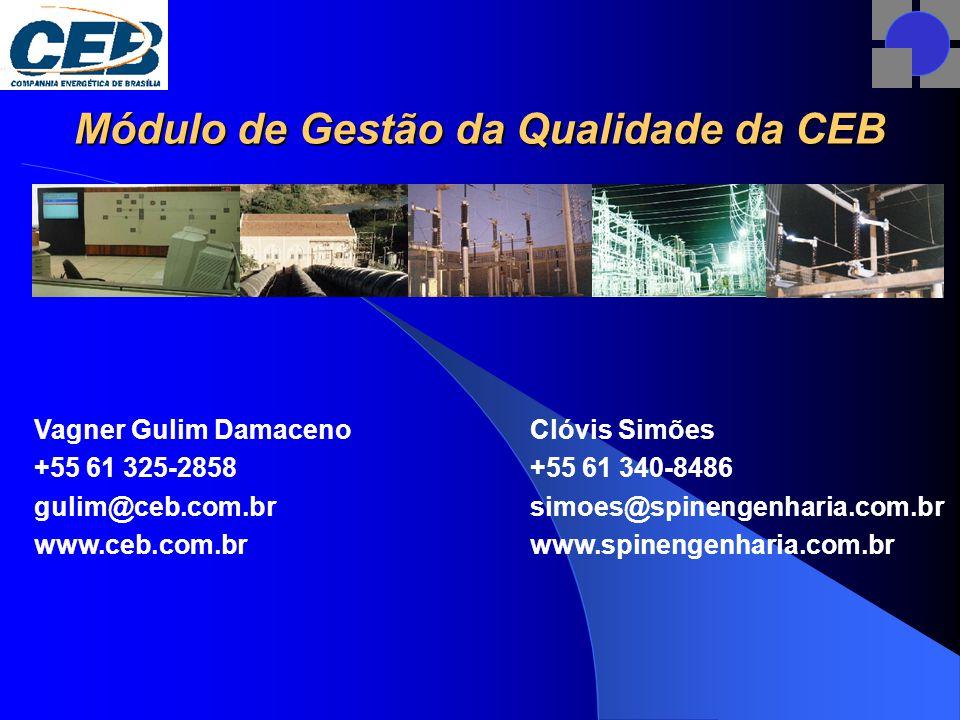 Módulo de Gestão da Qualidade da CEB Clóvis Simões +55 61 340-8486 simoes@spinengenharia.com.br www.spinengenharia.com.br Vagner Gulim Damaceno +55 61 325-2858 gulim@ceb.com.br www.ceb.com.br