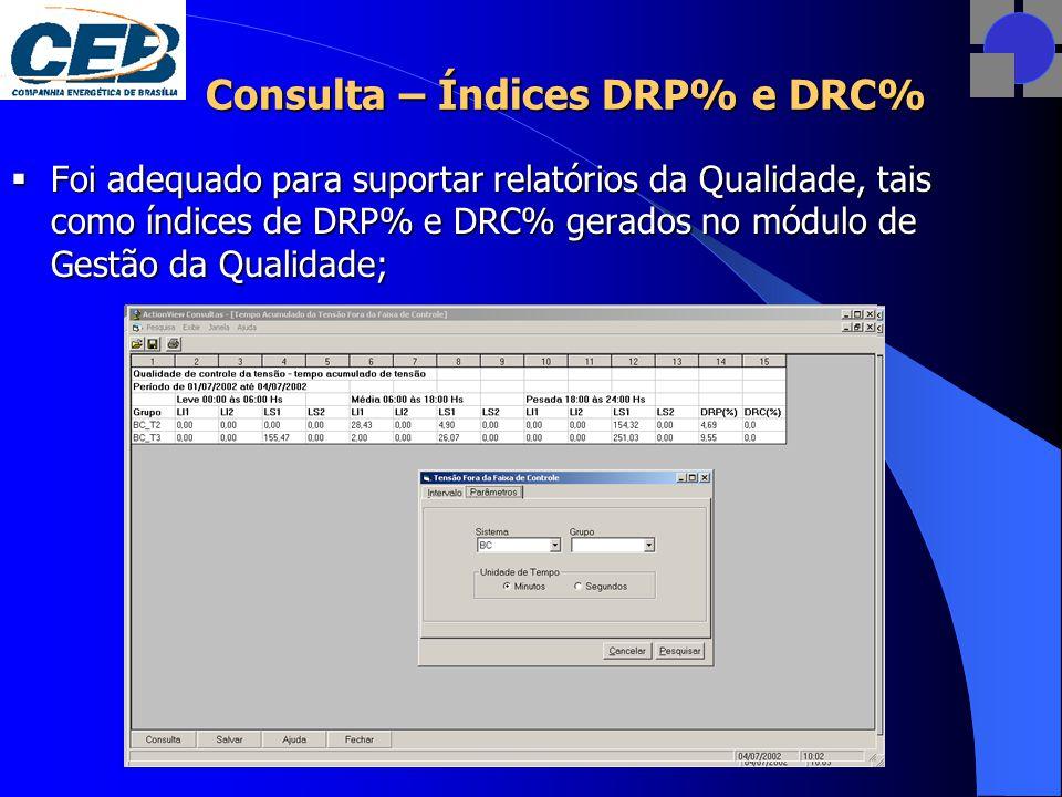 Consulta – Índices DRP% e DRC%  Foi adequado para suportar relatórios da Qualidade, tais como índices de DRP% e DRC% gerados no módulo de Gestão da Qualidade;