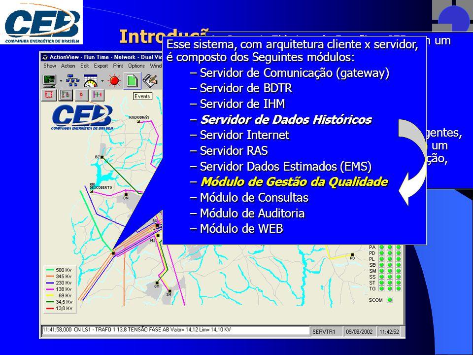 Introdução As Centrais Elétricas de Brasília – CEB tem um EMS / SCADA que implementa o controle supervisivo de: 30 subestações 1 usina e 66 chaves de poste telecomandadas.