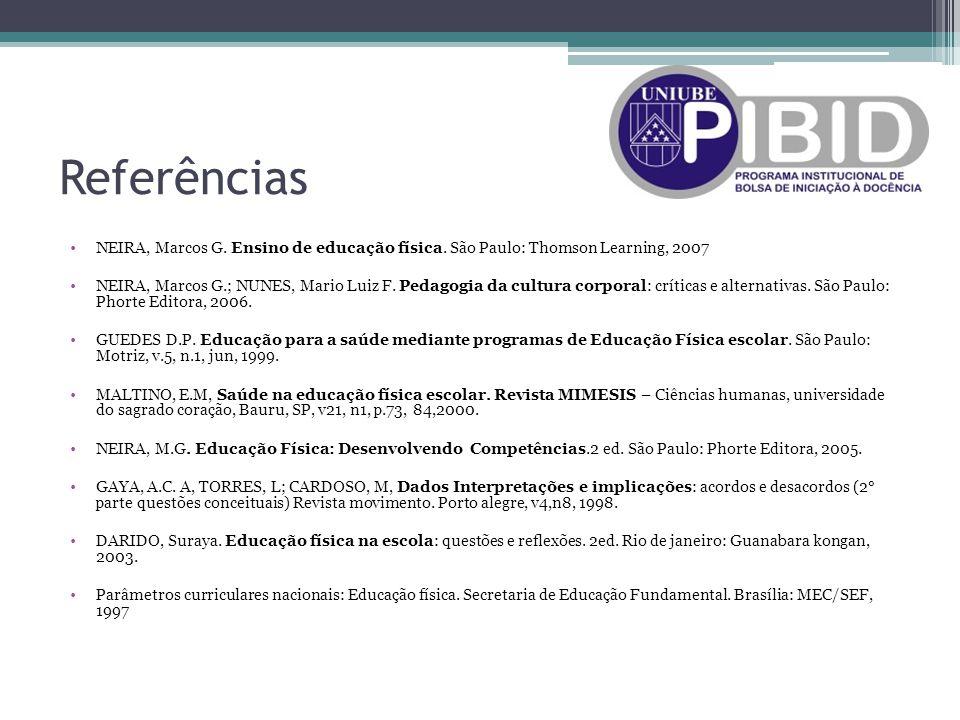 Referências NEIRA, Marcos G. Ensino de educação física. São Paulo: Thomson Learning, 2007 NEIRA, Marcos G.; NUNES, Mario Luiz F. Pedagogia da cultura