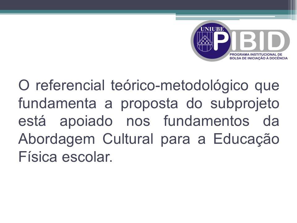 O referencial teórico-metodológico que fundamenta a proposta do subprojeto está apoiado nos fundamentos da Abordagem Cultural para a Educação Física escolar.