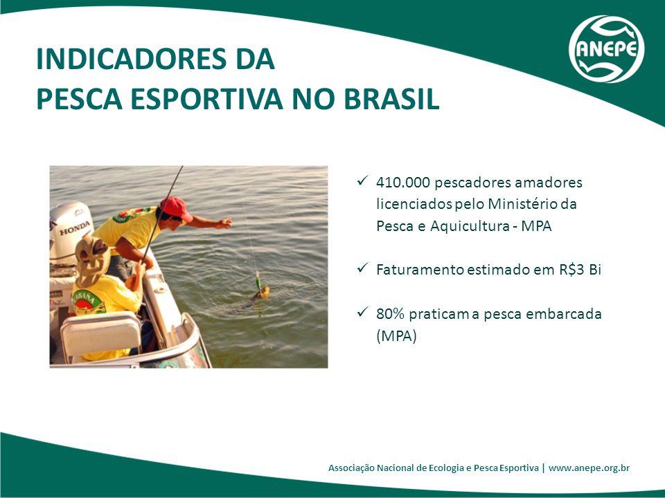 Associação Nacional de Ecologia e Pesca Esportiva   www.anepe.org.br O Brasil tem grande potencial para um desenvolvimento mais arrojado desta prática, considerando: A sua extensa bacia hidrográfica (mais de 5 milhões de km2); A sua extensa costa (cerca de 8 mil Km); A grande diversidade de espécies nativas propícias para a pesca amadora esportiva (Tucunarés, Robalos, Dourados, Cachorras, Pirararas, Piraiba, Black Basses, Olhos-de-Boi, Marlins, Sailfishes, Garoupas, dentre outras); Tratar-se de uma verdadeira paixão nutrida por milhões de brasileiros; uma tradição que passa de pais para filhos.