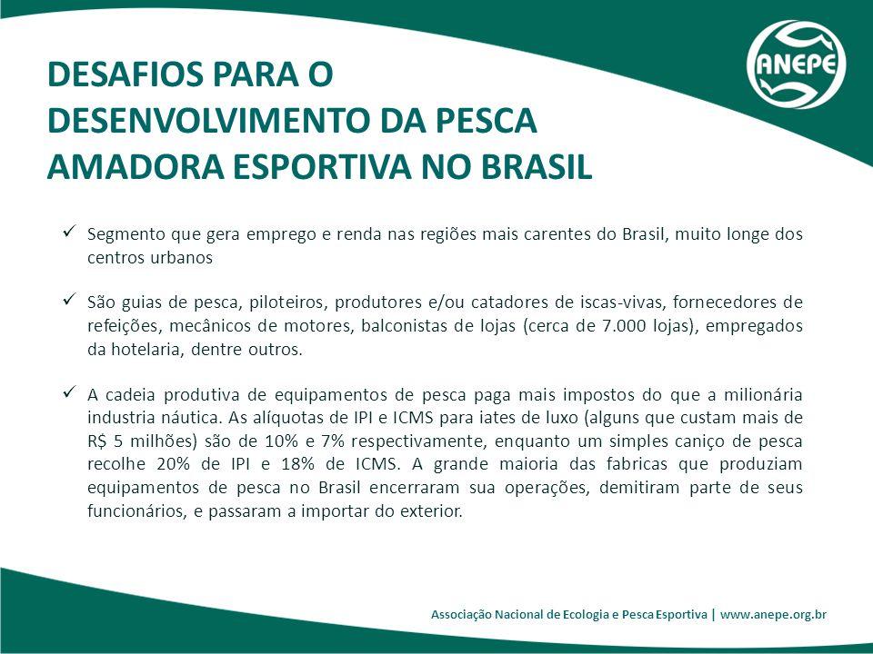 Associação Nacional de Ecologia e Pesca Esportiva | www.anepe.org.br Segmento que gera emprego e renda nas regiões mais carentes do Brasil, muito long
