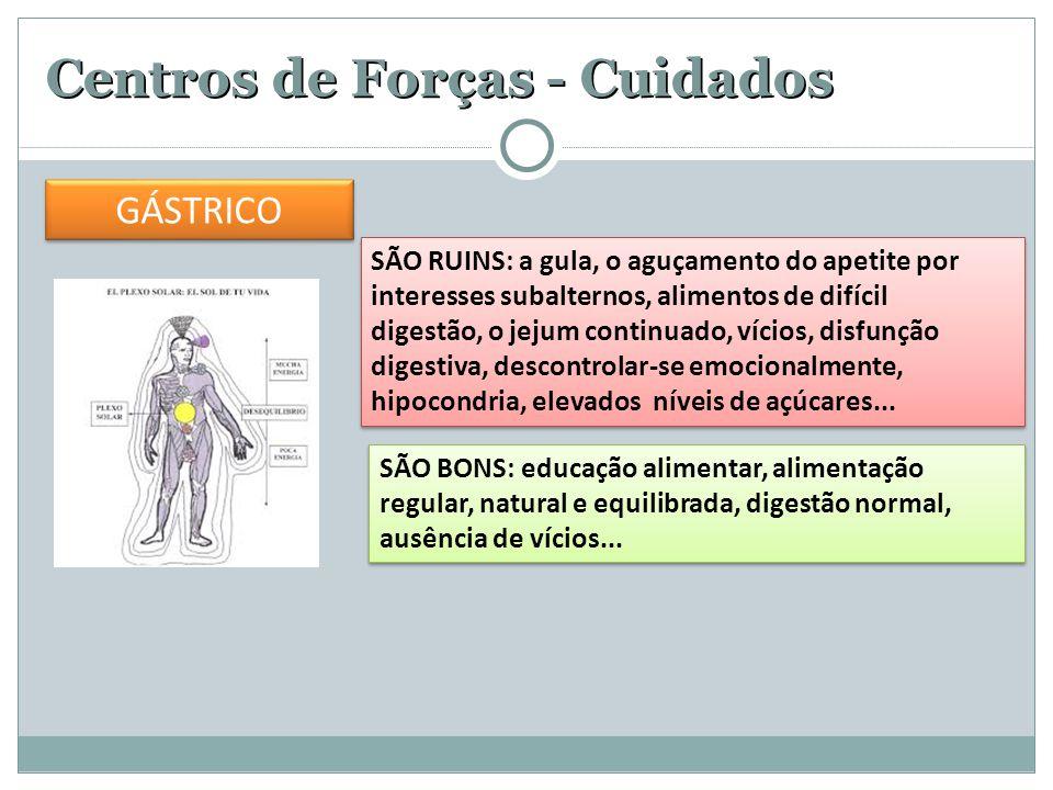 Centros de Forças - Cuidados SÃO RUINS: a gula, o aguçamento do apetite por interesses subalternos, alimentos de difícil digestão, o jejum continuado,