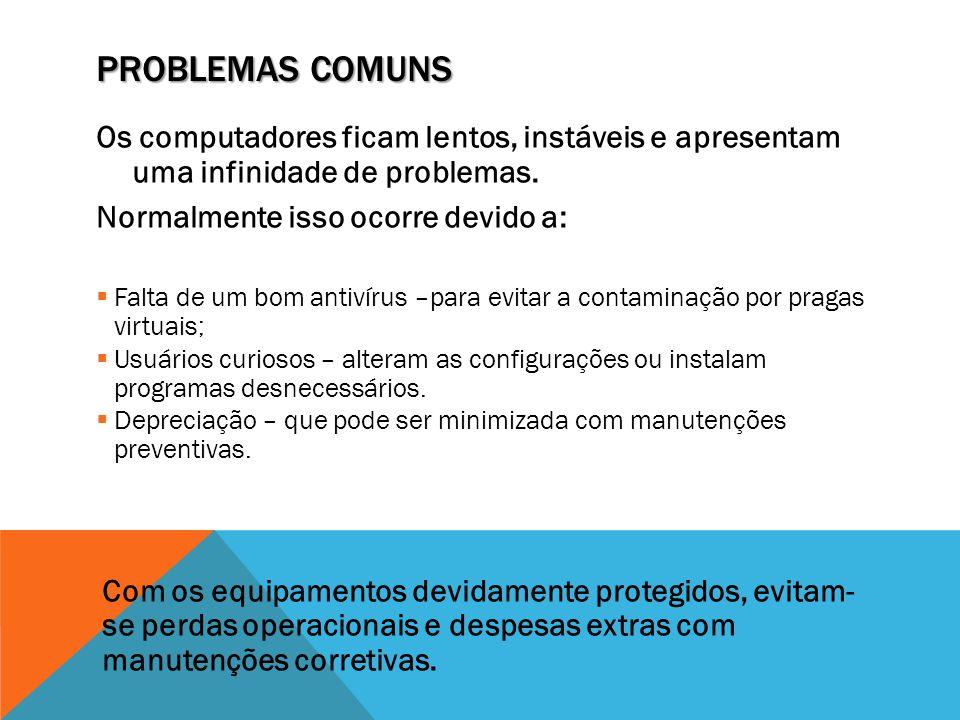 PROBLEMAS COMUNS Os computadores ficam lentos, instáveis e apresentam uma infinidade de problemas. Normalmente isso ocorre devido a:  Falta de um bom