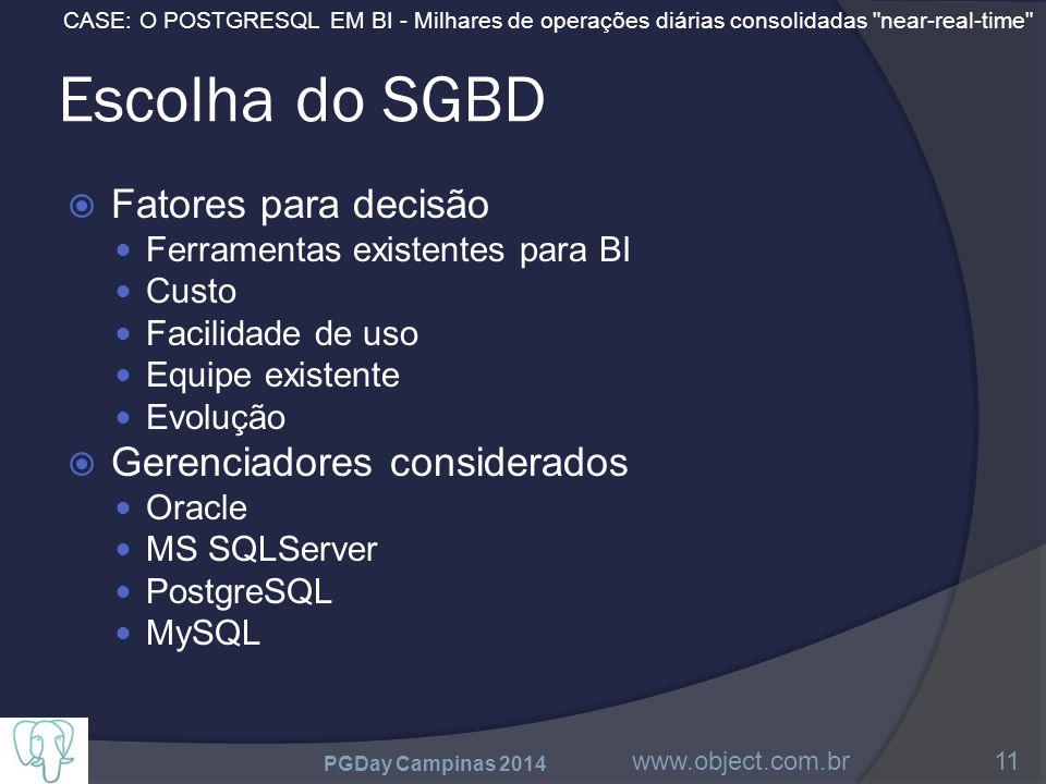 CASE: O POSTGRESQL EM BI - Milhares de operações diárias consolidadas near-real-time Escolha do SGBD  Fatores para decisão Ferramentas existentes para BI Custo Facilidade de uso Equipe existente Evolução  Gerenciadores considerados Oracle MS SQLServer PostgreSQL MySQL PGDay Campinas 2014 www.object.com.br11