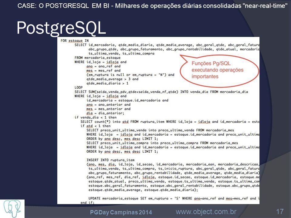 CASE: O POSTGRESQL EM BI - Milhares de operações diárias consolidadas near-real-time PostgreSQL PGDay Campinas 2014 www.object.com.br17