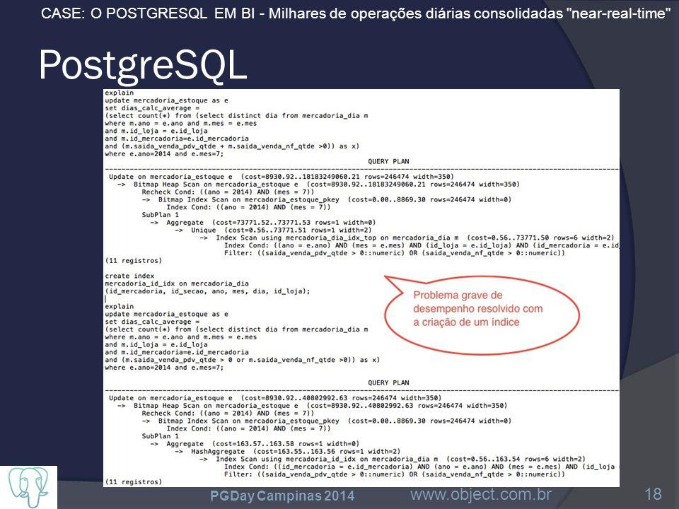 CASE: O POSTGRESQL EM BI - Milhares de operações diárias consolidadas near-real-time PostgreSQL PGDay Campinas 2014 www.object.com.br18