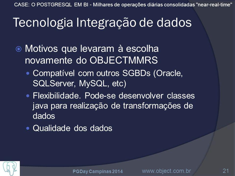 CASE: O POSTGRESQL EM BI - Milhares de operações diárias consolidadas near-real-time Tecnologia Integração de dados  Motivos que levaram à escolha novamente do OBJECTMMRS Compatível com outros SGBDs (Oracle, SQLServer, MySQL, etc) Flexibilidade.