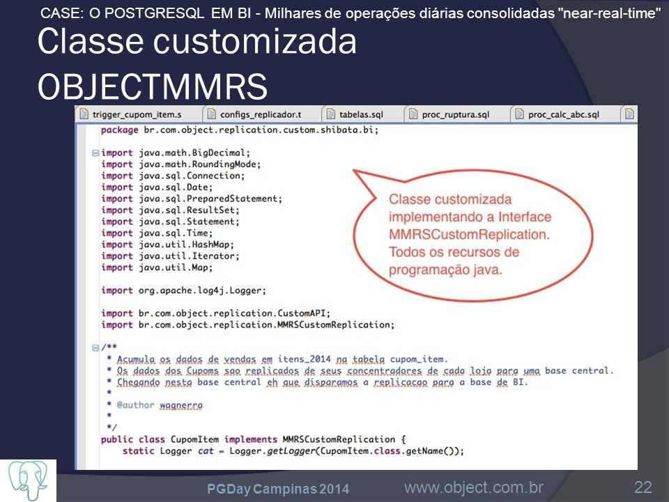 CASE: O POSTGRESQL EM BI - Milhares de operações diárias consolidadas near-real-time Classe customizada OBJECTMMRS PGDay Campinas 2014 www.object.com.br22