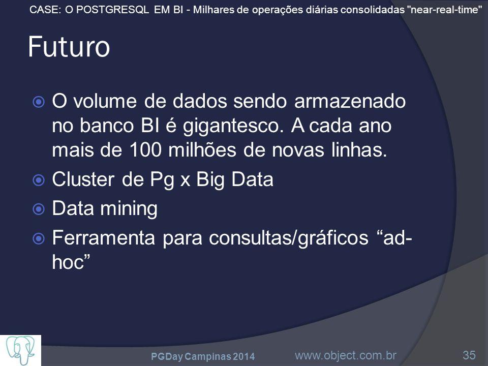 CASE: O POSTGRESQL EM BI - Milhares de operações diárias consolidadas near-real-time Futuro  O volume de dados sendo armazenado no banco BI é gigantesco.