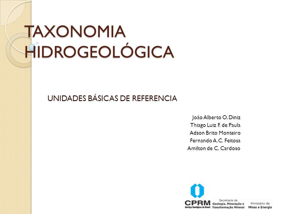 TAXONOMIA HIDROGEOLÓGICA UNIDADES BÁSICAS DE REFERENCIA João Alberto O.