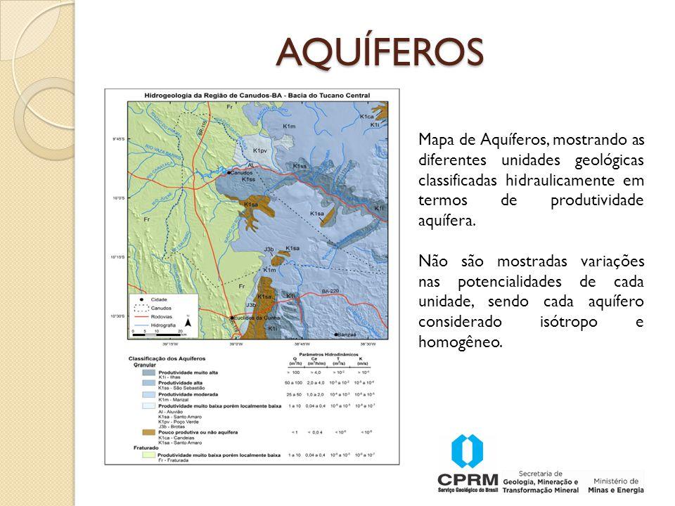 AQUÍFEROS Mapa de Aquíferos, mostrando as diferentes unidades geológicas classificadas hidraulicamente em termos de produtividade aquífera.